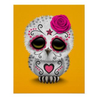Cute Pink Day of the Dead Sugar Skull Owl Yellow Poster