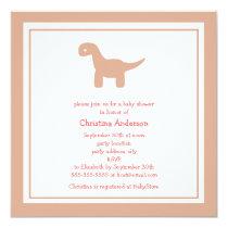 Cute Pink Dinosaur Baby Shower Invitation