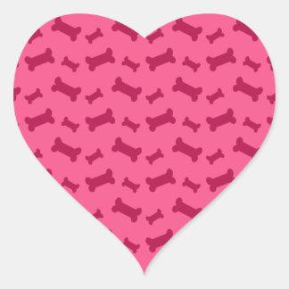Cute pink dog bones pattern heart sticker