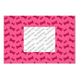 Cute pink dog bones pattern photo print
