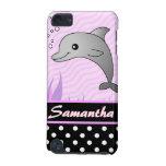 Cute Pink Dolphin Black Polka Dot Custom Name iPod Touch 5G Cover