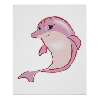 cute pink dolphin poster