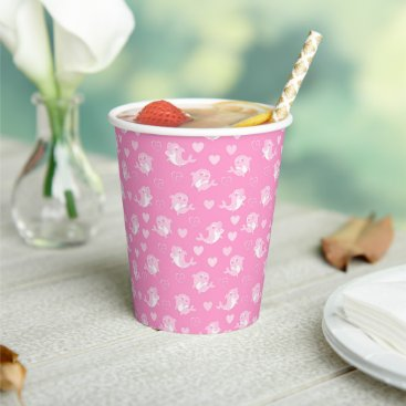 Cute Pink Dolphins Love Heart  Paper Cups