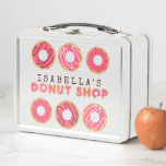 """Cute Pink Donut Shop Metal Lunch Box<br><div class=""""desc"""">The Cute Pink Donut Shop Lunch Box let's you create your own custom donut shop style logo with your choice of name. The design features a variety of pink glazed doughnuts including donuts with chocolate sprinkles and donuts with white or chocolate icing drizzle. This yummy design is perfect for kids,...</div>"""
