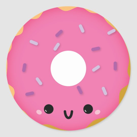 Cute pink donut sticker