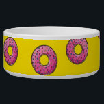 """Cute Pink Donuts Bowl<br><div class=""""desc"""">Cute pink donuts on yellow background.</div>"""