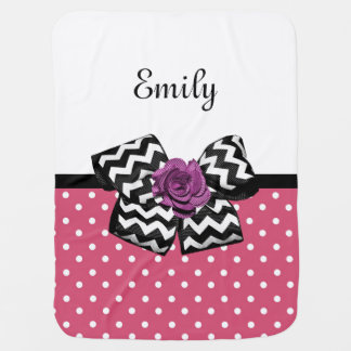 Cute Pink Dots Purple Rose Chevron Bow and Name Baby Blanket