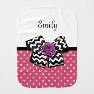 Cute Pink Dots Purple Rose Chevron Bow and Name Burp Cloth