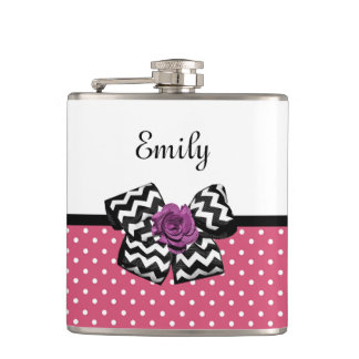 Cute Pink Dots Purple Rose Chevron Bow and Name Flask