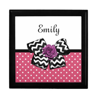 Cute Pink Dots Purple Rose Chevron Bow and Name Jewelry Box