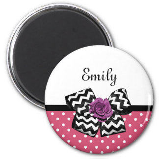 Cute Pink Dots Purple Rose Chevron Bow and Name Magnet