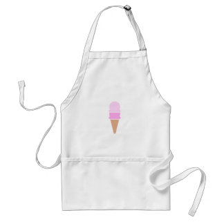 Cute Pink Double Scoop Ice Cream Cone Adult Apron