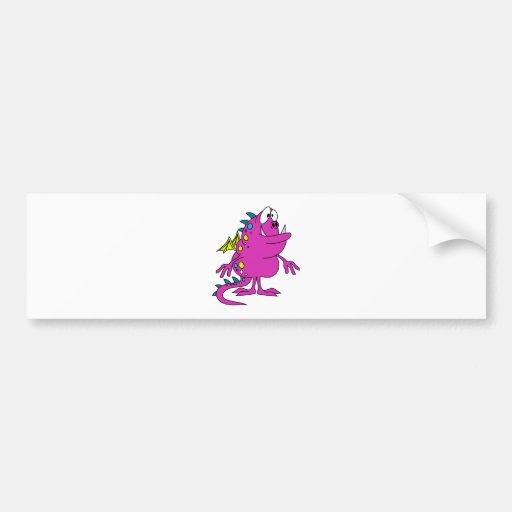 cute pink dragon monster creature bumper sticker