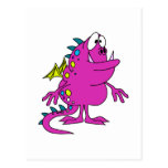 cute pink dragon monster creature post card