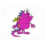 cute pink dragon monster creature postcard
