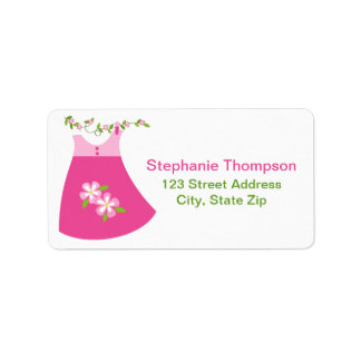 Cute Pink Dress Outfit Address Labels