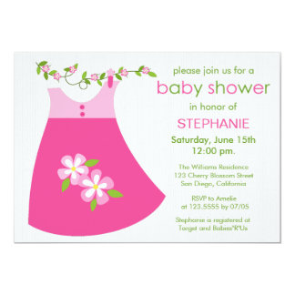 Cute Pink Dress Outfit Baby Shower Invitation