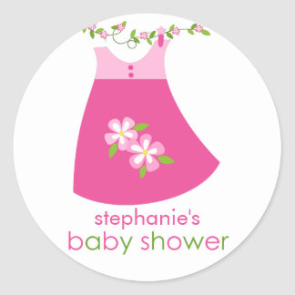 Cute Pink Dress Outfit Baby Shower Sticker