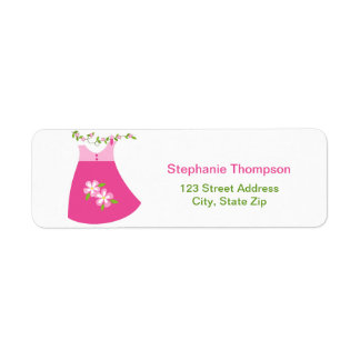 Cute Pink Dress Outfit Return Address Labels