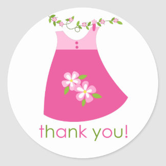 Cute Pink Dress Outfit thank You Sticker