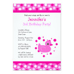 Cute Pink Ducky with Polka Dots Birthday Invite