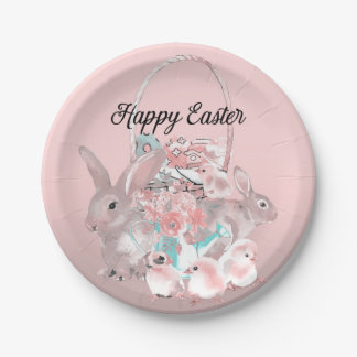 Cute Pink Easter Birthday Party Egg Hunt Paper Plate
