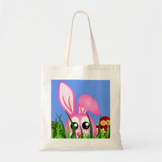 Cute Pink Easter Bunny and Colorful Eggs in Grass Tote Bag