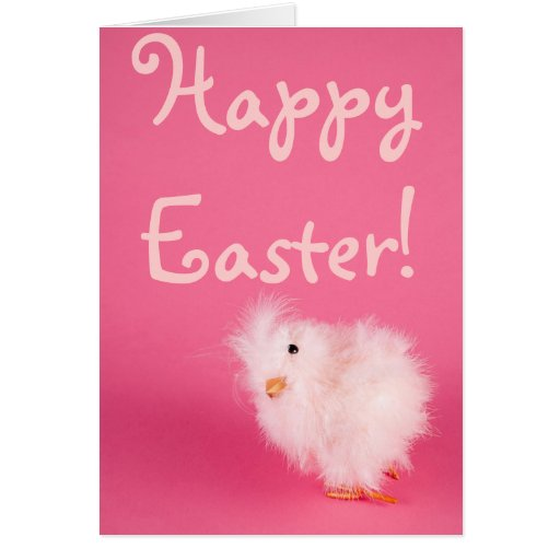 Cute Pink Easter Chick Greeting Card