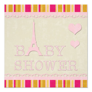 Cute Pink Eiffel Tower and Hearts Baby Shower Card