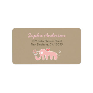 Cute Pink Elephant Baby Shower Address Labels