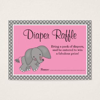 Cute Pink Elephant Baby Shower Diaper Raffle Business Card