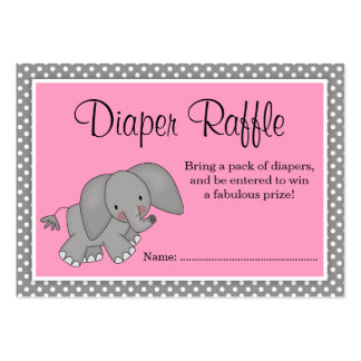 Cute Pink Elephant Baby Shower Diaper Raffle Large Business Card
