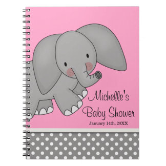Cute Pink Elephant Baby Shower Guest Book