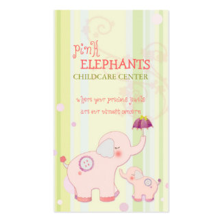 Cute Pink Elephant Childcare Daycare Baby Business Double-Sided Standard Business Cards (Pack Of 100)