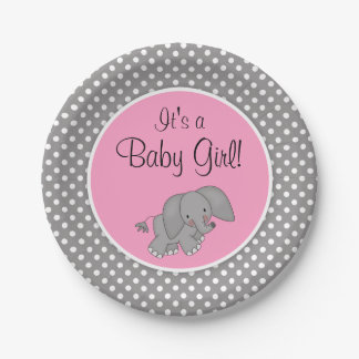 Captivating Cute Pink Elephant Girl Baby Shower Paper Plate