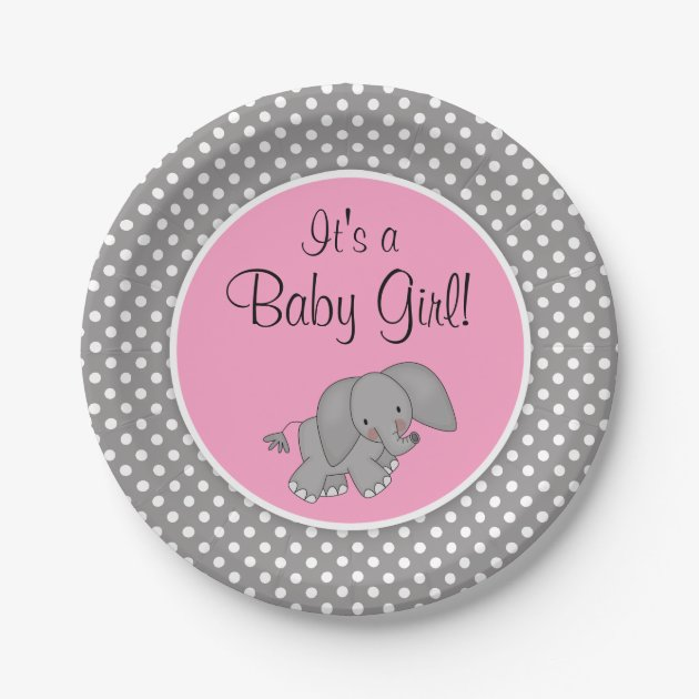 Wonderful Cute Pink Elephant Girl Baby Shower Paper Plate