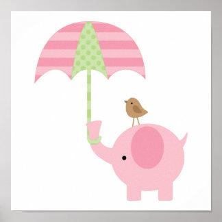 Cute Pink Elephant Girl Nursery Poster