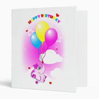 Cute Pink Elephant Happy Birthday Binder