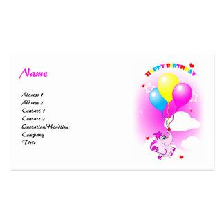 Cute Pink Elephant Happy Birthday Business Card