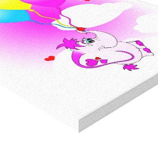 Cute Pink Elephant Happy Birthday Canvas Canvas Prints
