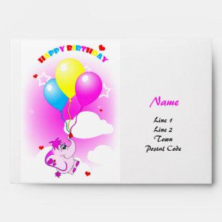 Cute Pink Elephant Happy Birthday Envelope