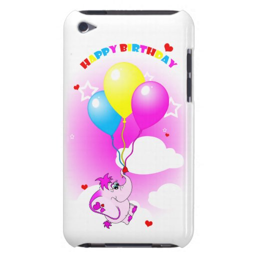 Cute Pink Elephant Happy Birthday iPod Touch Case