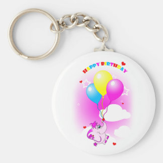 Cute Pink Elephant Happy Birthday Keychain