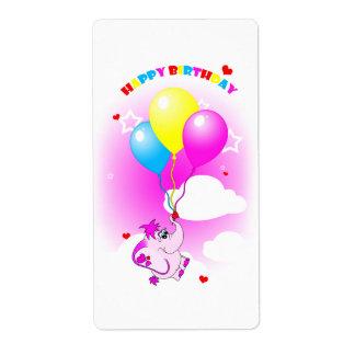 Cute Pink Elephant Happy Birthday Label