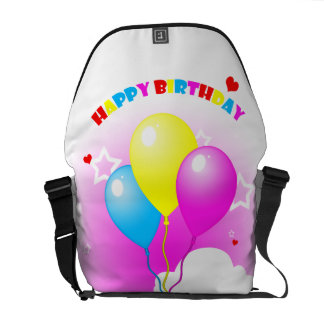 Cute Pink Elephant Happy Birthday Messenger Bag