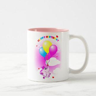 Cute Pink Elephant Happy Birthday Mug