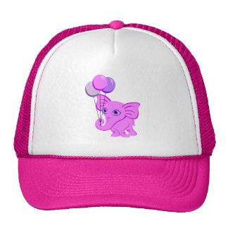 Cute Pink Elephant Holding Shiny Balloons Trucker Hat