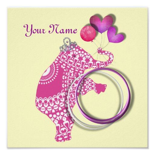 Cute Pink Elephant Personalised Baby Nursery Decor Poster