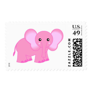 Cute Pink Elephant Postage Stamp