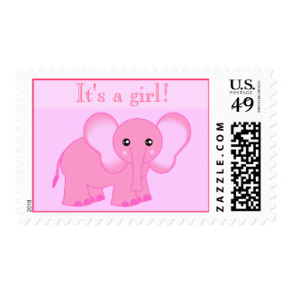 Cute Pink Elephant Postage Stamp - It's a girl!